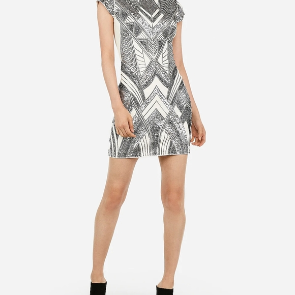 Express Dresses & Skirts - Sequin Embellished Cap Sleeve Mini Bodycon Dress